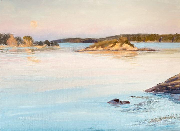 Harbor Scene, Moonset at Pemaquid, by Deborah Chapin
