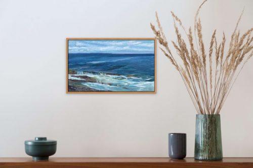 Surf Painting Pemaquid at Noon by Deborah Chapin, plein air oil on linen 12x20.