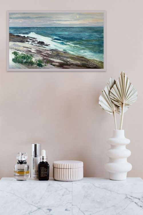 Surf Painting, Pemaquid Moon, 12x20 plein air oil painting by Deborah Chapin. I was painting en plein air on a very windy spring evening off of Pemaquid Point. Because of the cloud cover I didn't expect to see the moon but then suddenly it was there.