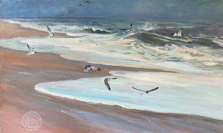 Plein air Surf painting, Carolina Coast by Deborah Chapin