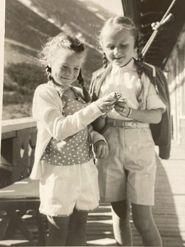 Debbie (on the left) at 5 with my Cousin Jeri in Glacier National Park