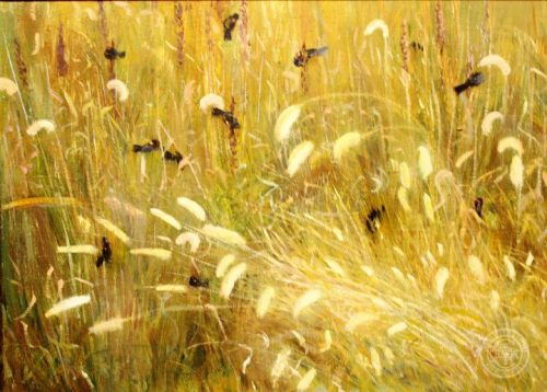 Rustic Decor, Wild Wheat and Red Wing Black Birds, 18x24 oil on linen by Deborah Chapin