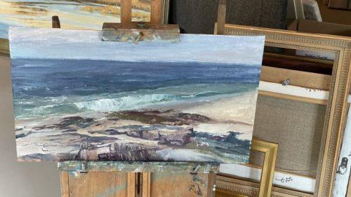 Rough in of Painting at Reid State Park Plein Air Painter of Maine - Deborah Chapin