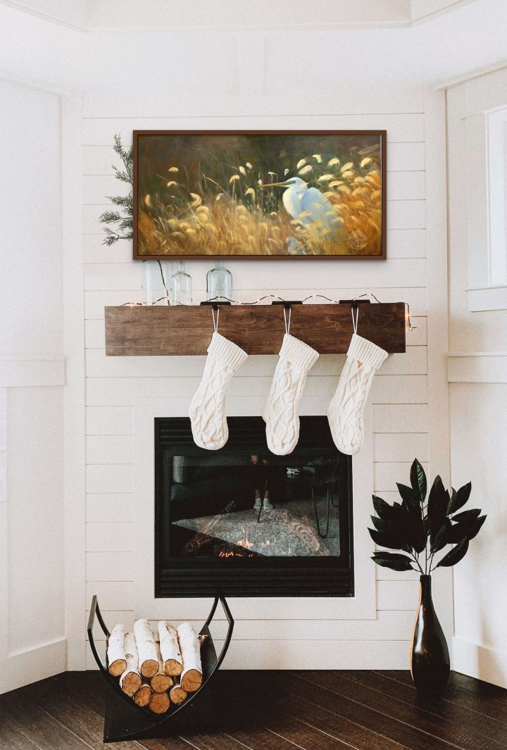Wetland and Water Paintings, Warming in the Sun by Deborah Chapin Rustic Decor, The original is 16×34 plein air oil painting.