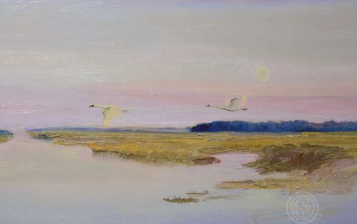 Landscape Artwork, Moonscape by Deborah Chapin, was painted in the wetlands during a 10 year subject of painting Blackwater Wildlife center.