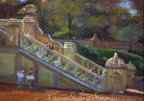 Bethesda Stairs at Bethesda Fountain 11x16 plein air oil by DeborahChapin