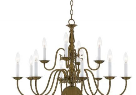 Antique Brass 10 Light 2 tier Candle Style Classic / Traditional Chandelier