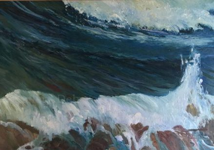 Abstract Marine Original Paintings: Les Vagues, 21x34, plein air oil by Deborah Chapin