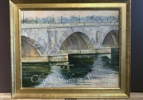 Woman Artist Deborah Chapin, Circles Memorial Bridge, oil painting. Exhibited at the Artists of America Exhibition at the Colorado Historical Museum