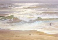 original oil painting for sale, Beach Scenes on Canvas, Morning Surf, 16x34 plein air oil by Deborah Chapin