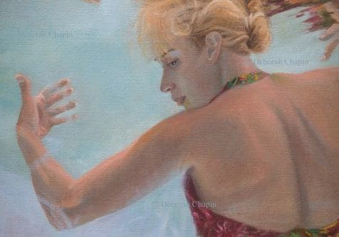 """Women In Art, Contemporary Realism, underwater figurative painting, detail, """"Holding up the Sky"""", by Deborah Chapin"""