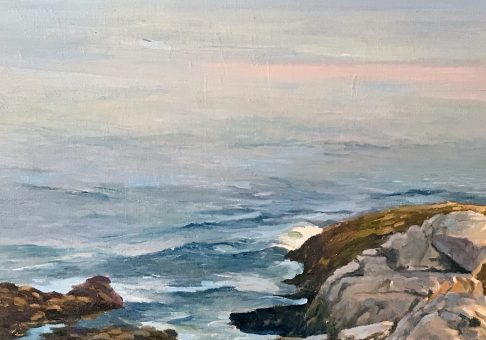 Pemaquid Point at Low Tide, 15x15 oil on linen, by Deborah Chapin, Maine art, Pemaquid Point Rocks, Seascape Painting, marine art, marine artist