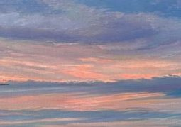 "Mid-coast Maine Coastal Painting , Muscongus Bay at Dawn, by Deborah Chapin. A new Dawn on Maine's Muscongus Bay. 12x31"" Coastal Decor Piece"