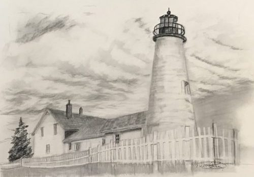 "Pemaquid Point Lighthouse drawing demonstration for ""Art Teaches That"" Series for kids leaning to draw"