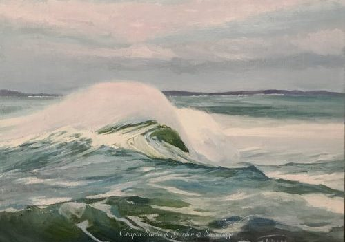 "Maine Marine Artist - Coastal Series White Horses of the Sea 4 by Deborah Chapin Inspired by the Poem ""White Horses of the Sea"" Pemaquid Point Maine Art."