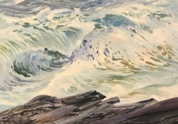 "Surf Painting White Horses of the Sea 5 by Deborah Chapin Painting of Stormy Seas at Pemaquid Point Maine Art.  Maine Woman Marine Artist, Deborah Chapin is working on a new series of  Maine Coastal Art with her depiction of White Horses of the Sea.   ""White Horses of the Sea 5"" at Pemaquid Point Maine off of Pemaquid Point Lighthouse, is original art, a Maine Marine Art piece inspired by the poem ""White Horses of the Sea"" by Elfin? although I believe it is an extraction of Byron's . (See Poem below).   I'm doing a series of small pieces of those foamy steeds.  ________________ White Horses of the Sea 5, 24x36 oil on stretched linen canvas by Woman Marine Artist Deborah Chapin See Other Coastal Pieces Below  New Series Offered Exclusively out of the studio with a 30% studio discount."