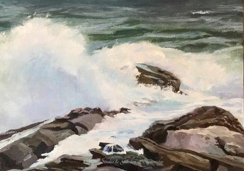 "Maine marine Artist - Coastal Series White Horses of the Sea 3 by Deborah Chapin Inspired by the Poem ""White Horses of the Sea"" off Pemaquid Point Maine Art."
