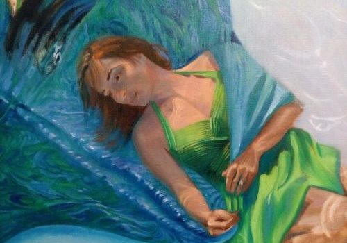 """See the latest video demonstration of """"The Thing With Feathers - Hope"""" by Deborah Chapin #figurativeart #figurativepainting #fineart #underwaterportrait #figurativeunderpainting """"The Thing With Feathers - Hope"""" by Deborah Chapin"""