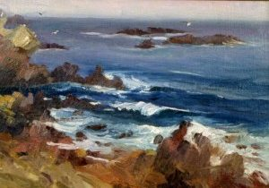 Private Collection, Sold Original Oil Paintings Archives. Morning Mist, 12x16 plein air oil, Brittany series, Deborah Chapin. Exhibited at National Arts Club