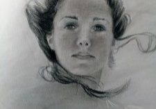 Charcoal drawing, portrait of women, charcoal, original by Deborah Chapin