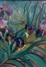 This floral art piece is an original oil painting depicting an iris, 22x30 plein air oil. The flower painting, is red and dark garnet color iris. https://gallery.deborahchapin.com