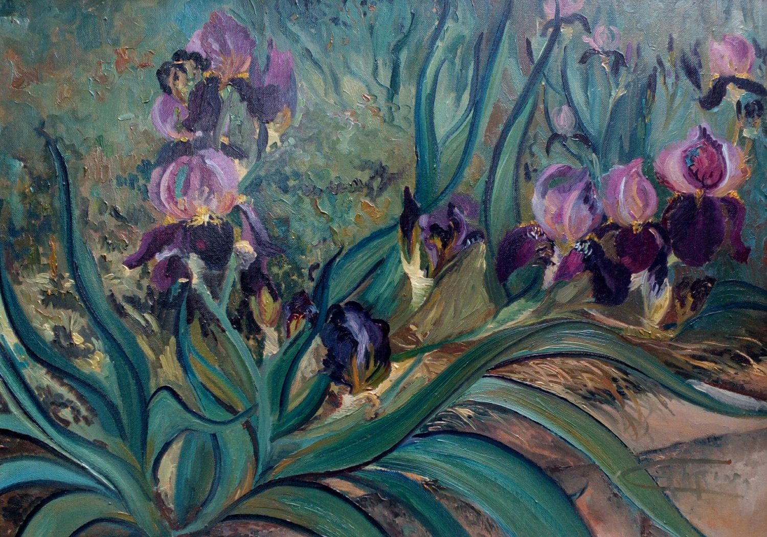 The original $5500 iris flower paintings is 22x30 plein air oil and the unframed giclée printed canvas with permanent pigment ink are made to order ready for your framer. The flower painting, is red and dark garnet color iris. https://gallery.deborahchapin.com