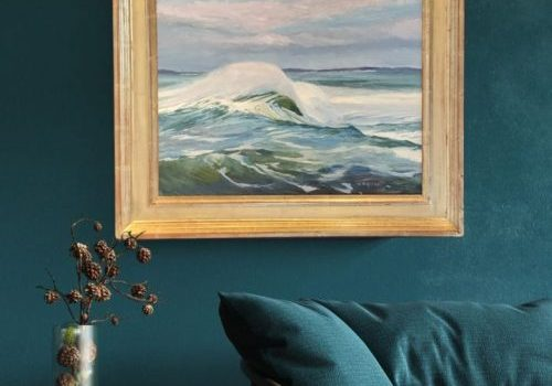"Interior Design, Home Decor Teal green, Maine Marine Artist - Coastal Series White Horses of the Sea 4 by Deborah Chapin Inspired by the Poem ""White Horses of the Sea"" Pemaquid Point Maine Art."