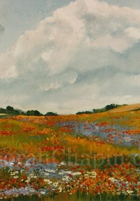 French Landscape Original Print Lithograph Poppies Wildflowers ~ Chapin. PoppiesPoppies and Cornflowers, 18x24 original Lithograph by Deborah Chapin