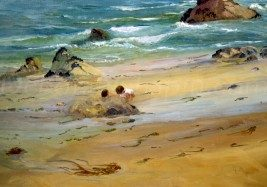 Private Collection, Sold Original Oil Paintings Archives. Beach Sand Painting, Sand Castles 21x34 plein air oil by Deborah Chapin