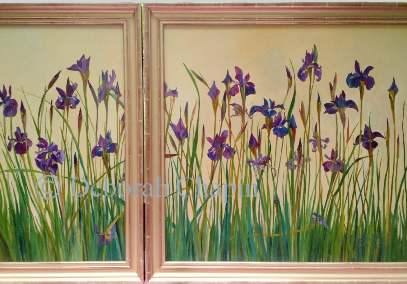 """Blue floral art on canvas """"I painted each blossom en plein air (on location) over several weeks as a portrait of these flowers, adding each flower as it opened"""