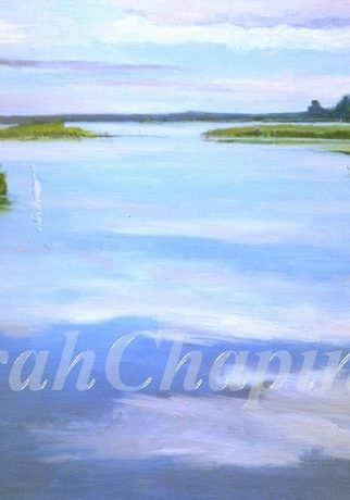 """Painted on the Eastern Shore of Maryland as part of a Wetland Series of pieces involving 500 pieces of art during a 7 year period, most of which have been sold. """" In all the years that I've been painting the Wetlands and environs the characteristic I enjoy most is the reflecting sky. Somehow with calm winds a peace settles and the wildlife revel in the environment."""
